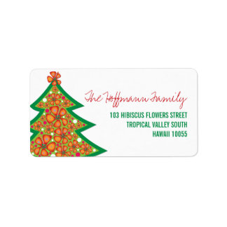 Hibiscus Flowers Tropical Christmas Address Labels