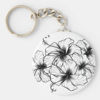 Hibiscus Flowers Vintage Retro Woodcut Etching Key Ring
