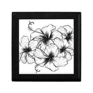 Hibiscus Flowers Vintage Retro Woodcut Etching Small Square Gift Box