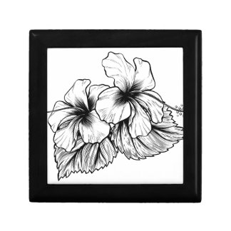 Hibiscus Flowers Vintage Style Woodcut Engraved Et Small Square Gift Box
