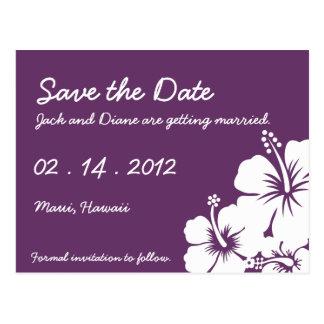 Hibiscus Flowers Wedding Postcard