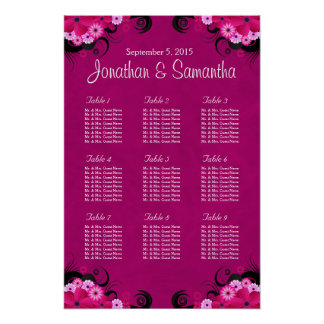 Hibiscus Fuchsia Pink Wedding Table Seating Charts Poster