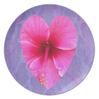 Hibiscus Heart on Lavender Lace Plate