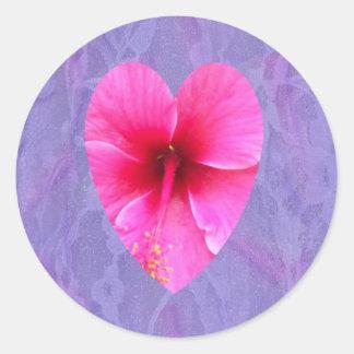 Hibiscus Heart Classic Round Sticker