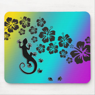 hibiscus in black with gecko | coloured background mouse pad