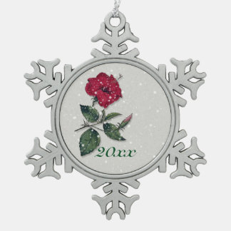 Hibiscus in the snow snowflake pewter christmas ornament