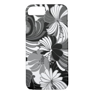 Hibiscus Jungle Hawaiian Tropical Floral Black iPhone 8/7 Case