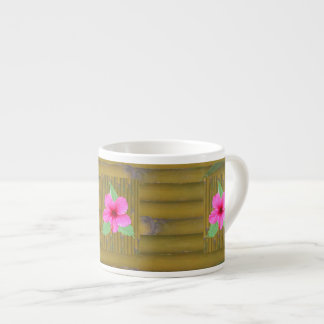 Hibiscus on Bamboo 6 Oz Ceramic Espresso Cup