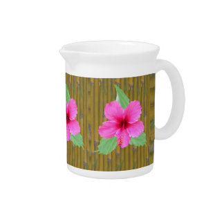 Hibiscus on Bamboo Beverage Pitcher