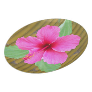 Hibiscus on Bamboo Dinner Plates
