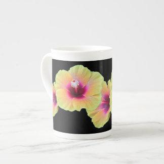 Hibiscus on bone china tea cup