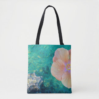 Hibiscus on turquoise water tote