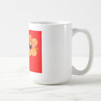 Hibiscus Orange Red bg The MUSEUM Zazzle Gifts Basic White Mug