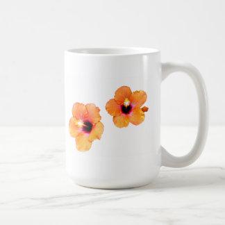 Hibiscus Orange White bg The MUSEUM Zazzle Gifts Basic White Mug