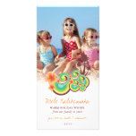 Hibiscus Palm Trees Tropical Christmas Greetings Personalized Photo Card