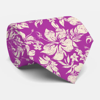 Hibiscus Pareau Hawaiian Floral Radiant Orchid Tie