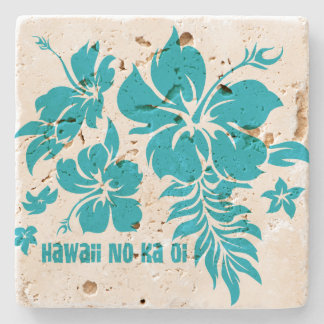 Hibiscus Pareau Hawaiian Floral Tiki Bar Coasters Stone Coaster