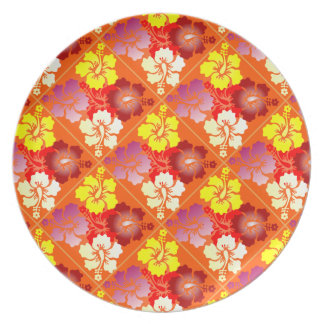 hibiscus pattern party plate