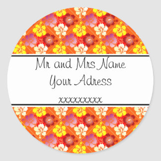 Hibiscus pattern round sticker