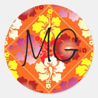 hibiscus pattern round sticker