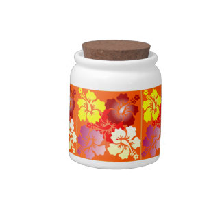 hibiscus patterns candy jars