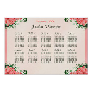 Hibiscus Pink 10 Wedding Table Seating Charts Poster