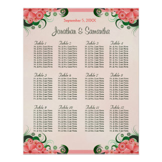 Hibiscus Pink 12 Wedding Tables Seating Charts Poster
