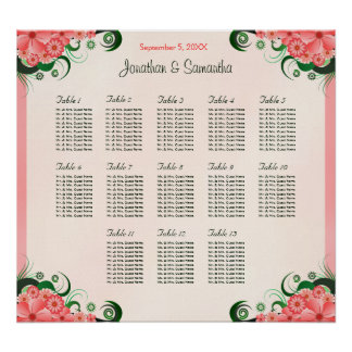 Hibiscus Pink 13 Wedding Tables Seating Charts Poster