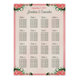 Hibiscus Pink 16 Wedding Tables Seating Charts