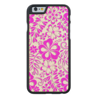 Hibiscus Pink and Purple Pattern Carved Maple iPhone 6 Case