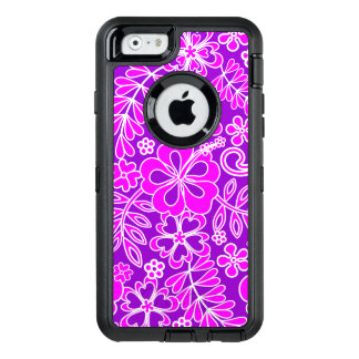Hibiscus Pink and Purple Pattern OtterBox Defender iPhone Case