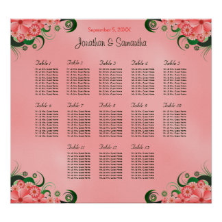 Hibiscus Pink DIY 13 Tables Wedding Seating Chart Poster