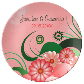 Hibiscus Pink Floral Wedding 10.75 Porcelain Plate