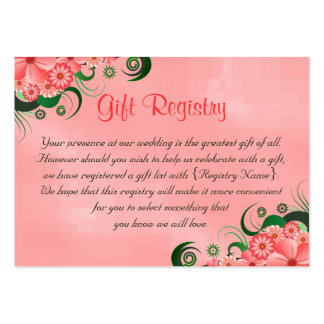 Hibiscus Pink Floral Wedding Gift Registry Cards Pack Of Chubby Business Cards