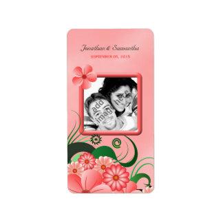 Hibiscus Pink Floral Wedding Photo Favor Labels