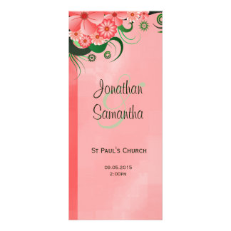 Hibiscus Pink Floral Wedding Program Template Card Rack Card Template