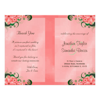 Hibiscus Pink Floral Wedding Program Templates Flyer Design