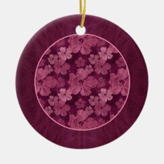 Hibiscus Pink Flowers Batik Round Ceramic Decoration