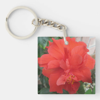 Hibiscus Plant Red Floral Key Ring