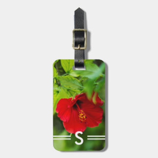Hibiscus Red Hawaii Tropical Flower + Initials Luggage Tag