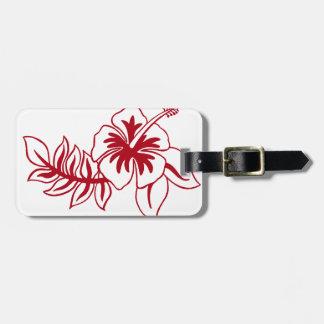 Hibiscus Red Hawaiian Flower Luggage Tag