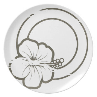 Hibiscus rubber stamp party plate
