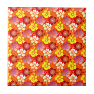 hibiscus small square tile