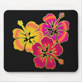 hibiscus trio | BG black Mouse Pad