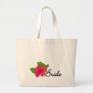 Hibiscus Tropical BRIDE Jumbo Tote Bag