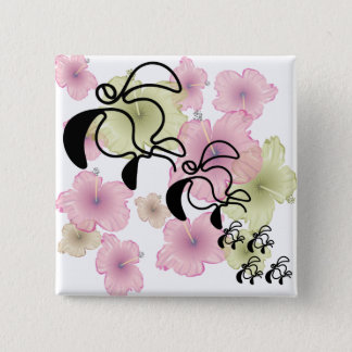 Hibiscus-Turtle-Family 15 Cm Square Badge