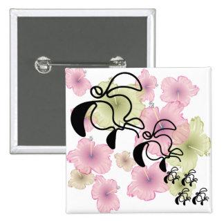 Hibiscus-Turtle-Family 15 Cm Square Badge