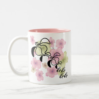 Hibiscus-Turtle-Family Two-Tone Coffee Mug
