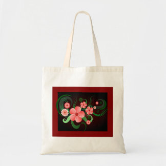 Hibiscus Vector Flower Floral Budget Tote Bags Canvas Bag