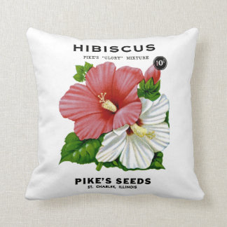 Hibiscus Vintage Seed Packet Throw Cushions